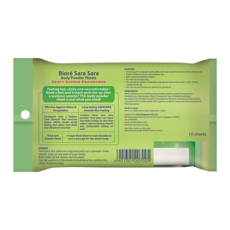 Biore SaraSara Body Powder Sheets Citrus, 10 sheets