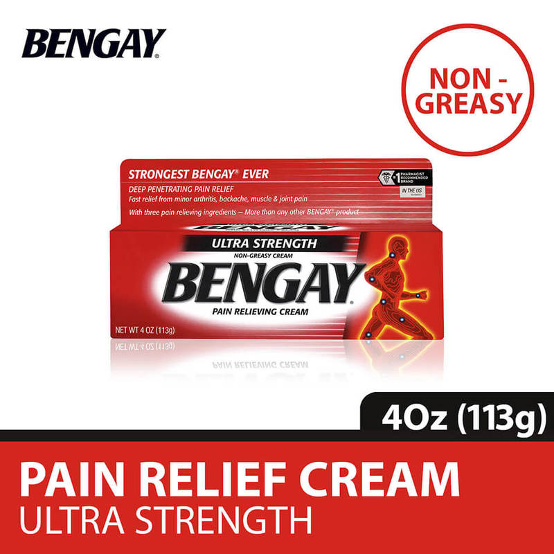 Bengay Ultra Strength Non-Greasy Pain Relieving Cream, 4oz