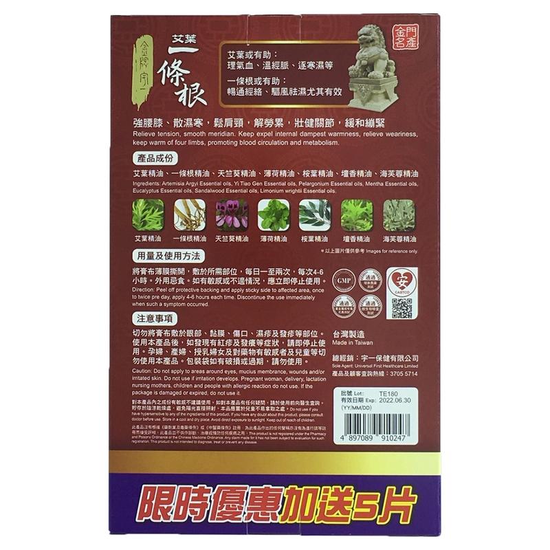 Jin Pai Yu Yi A.A.Yi Tiao Gen Essential Oils Plaster 10+5pcs