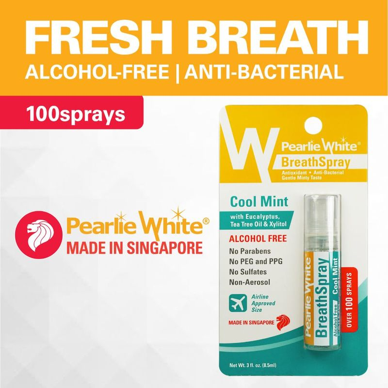 Pearlie White Breath Spray Alcohol Free Cool Mint 100 Sprays