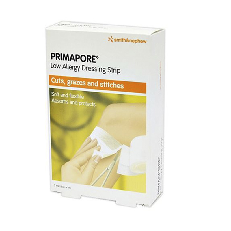 Smith & Nephew Primapore Low Allergy Dressing Strip, 8cm x 1m