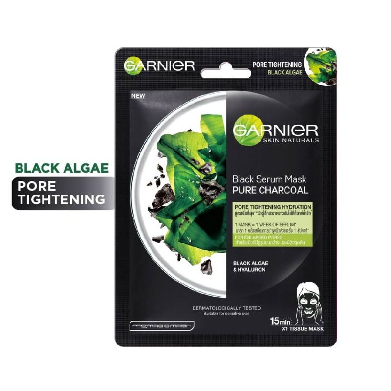 Garnier Black Serum Mask Pure Charcoal Algae - Purifying & Hydrating Pore-Tightening Tissue Mask
