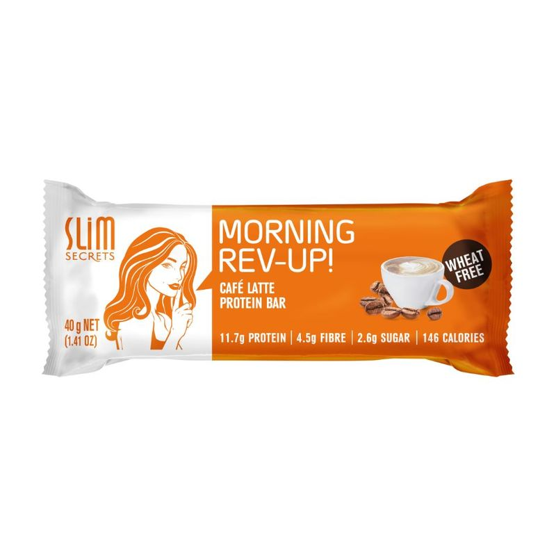 Slim Secrets Morning Rev-Up Cafe Latte Protein Bar, 40g