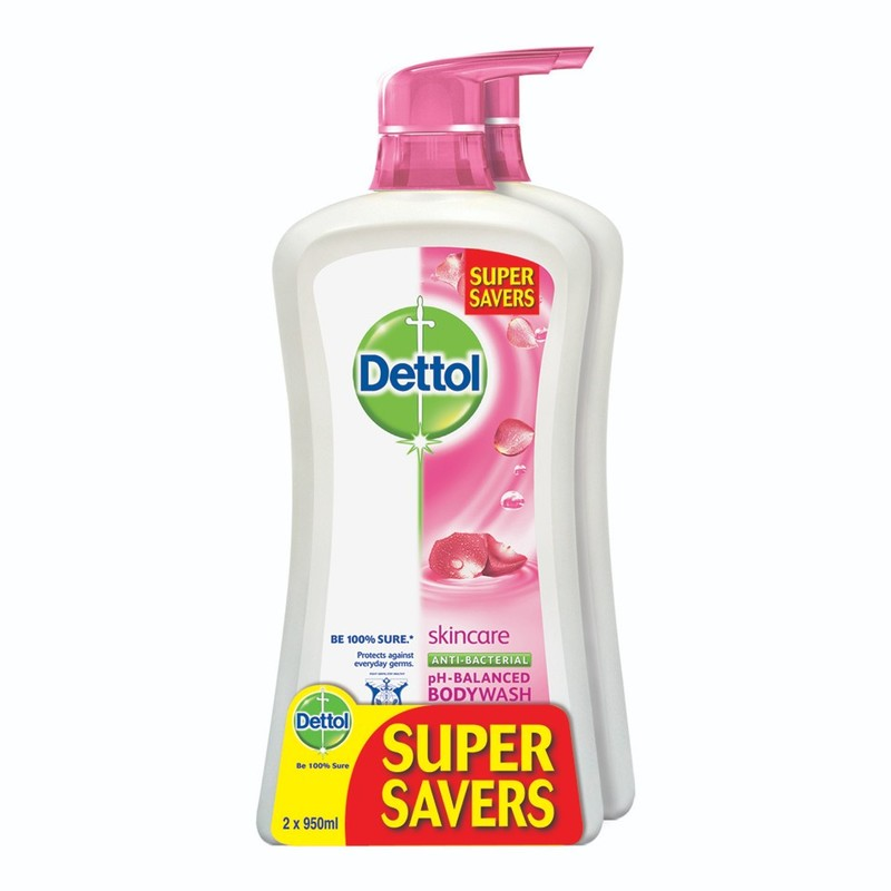 Dettol Anti-Bacterial Shower Gel Skincare Value Pack, 2x950ml