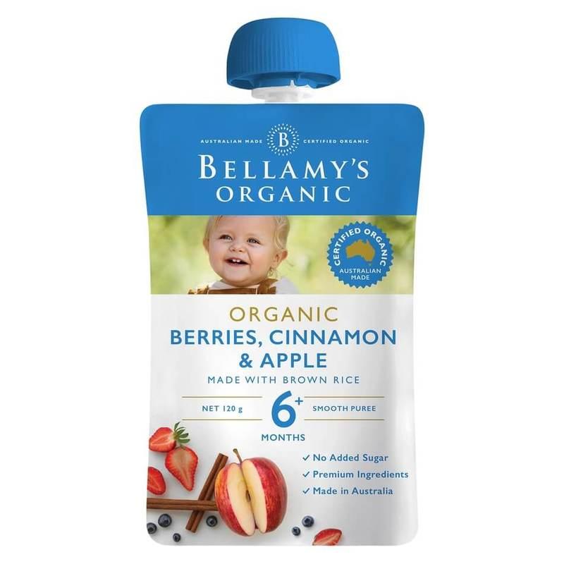 Bellamy's Organic Berries Cinnamon & Apple Pouch, 120g