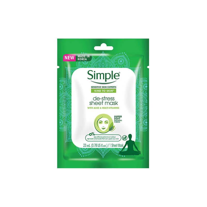 Simple De-Stress Sheet Mask 1s