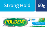Polident Denture Adhesive Full & Partial False Teeth Fixative Flavour Free, 60g