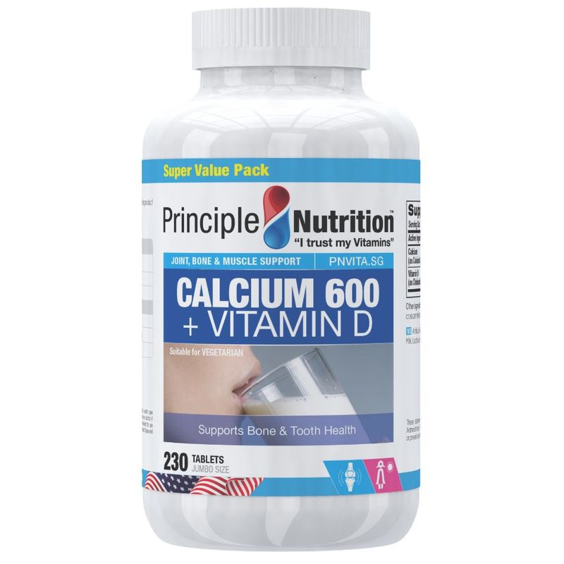 Principle Nutrition Calcium 600 + Vitamin D, 230 tablets