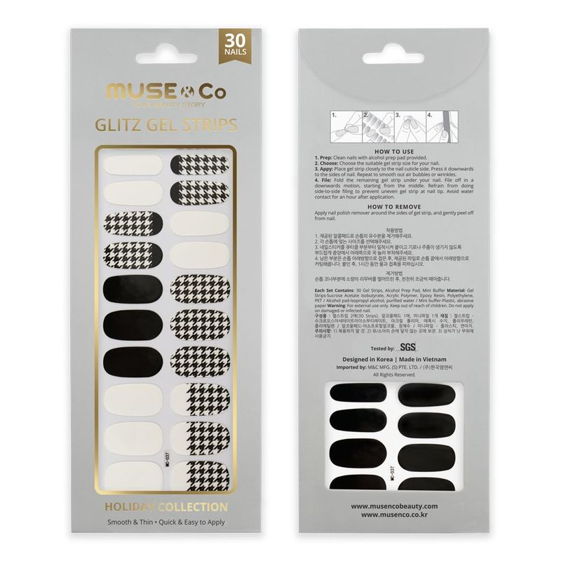 MUSE & Co - Glitz Gel Strips - Classic Houndstooth