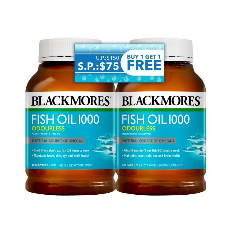 Blackmores Odourless Fish Oil Twin Pack, 2x400 capsules