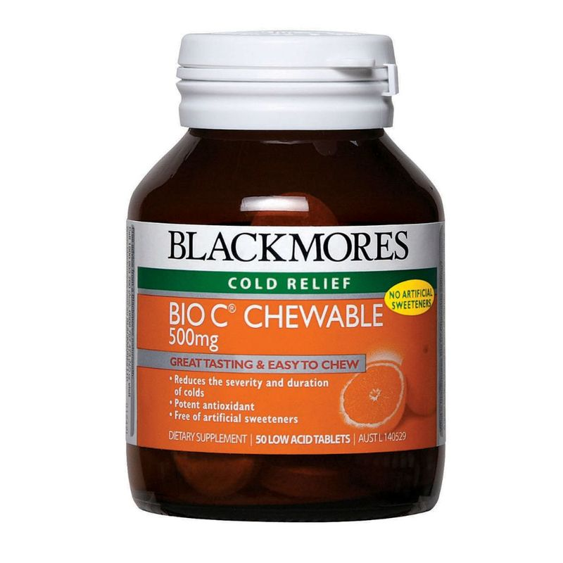 Blackmores Bio C Chewable 500mg Cold Relief, 50 tablets