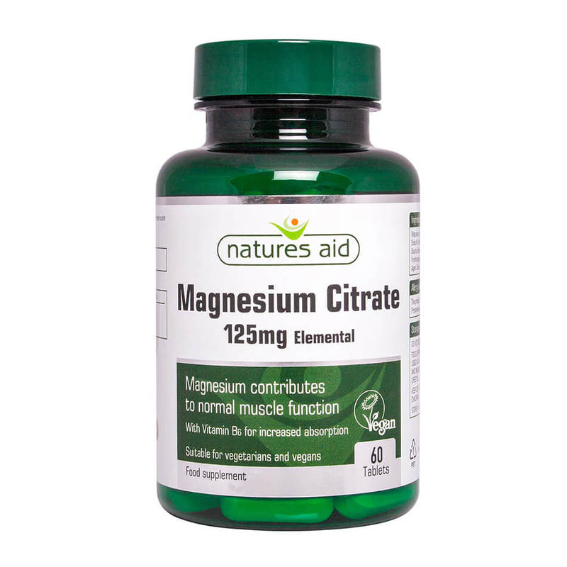 Natures Aid Magnesium Citrate 125mg, 60 tablets