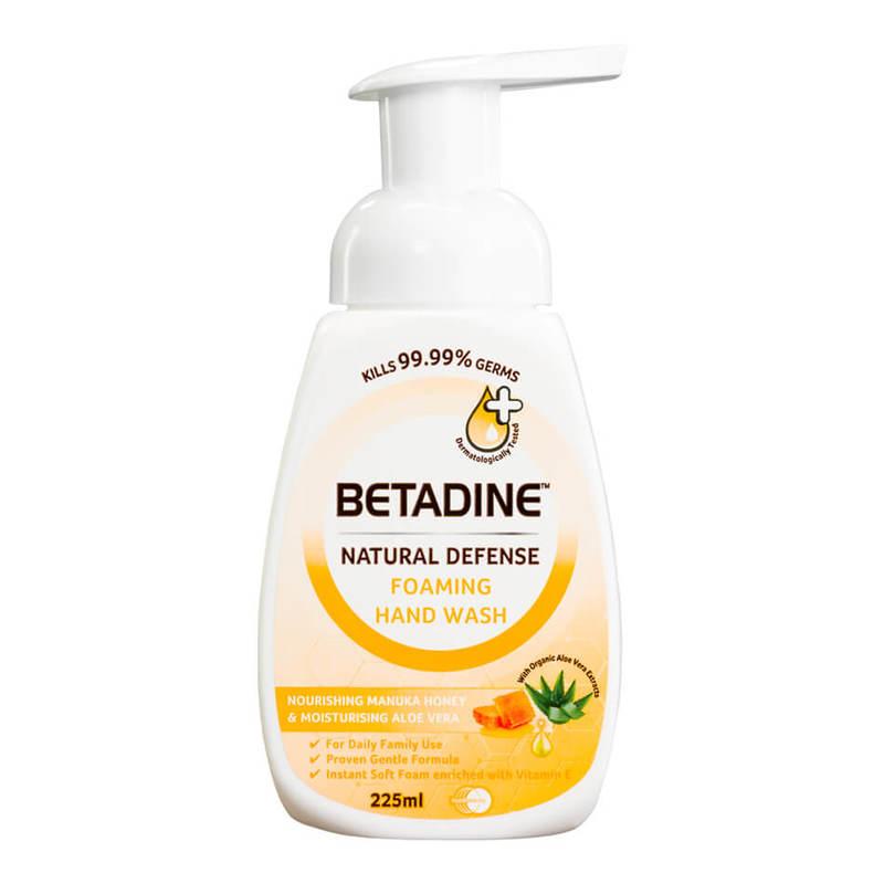 Betadine Natural Defense Nourishing Manuka Honey & Moisturising Aloe Vera Foaming Hand Wash, 225ml