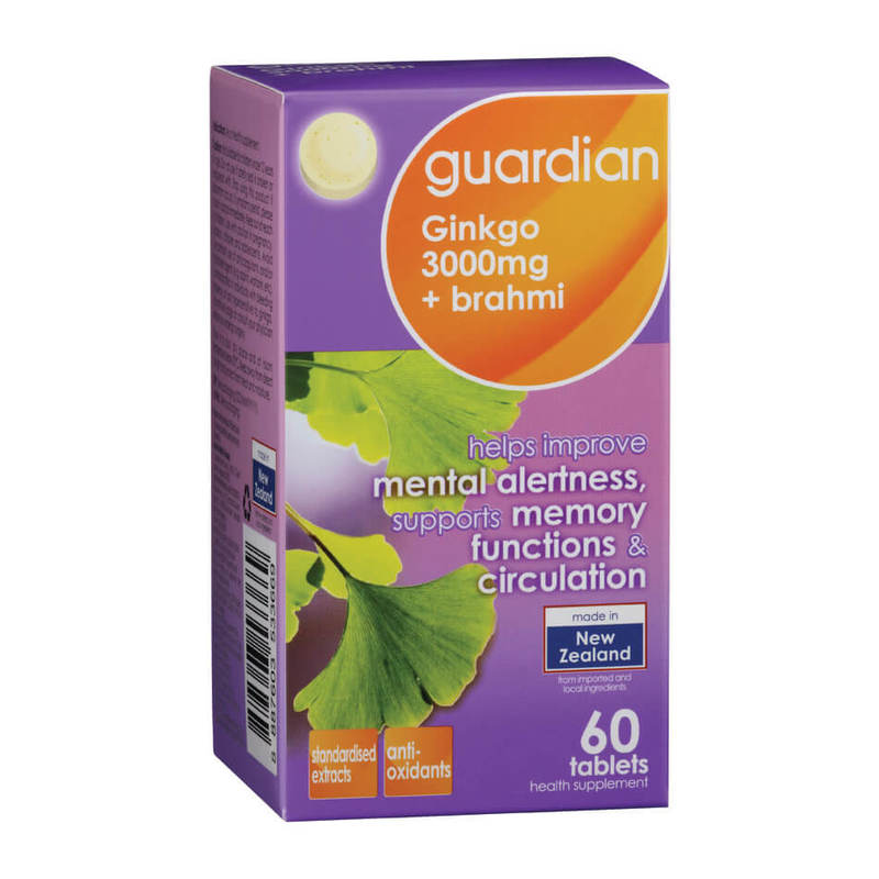 Guardian Gingko 3000mg + Brahmi, 60 tablets
