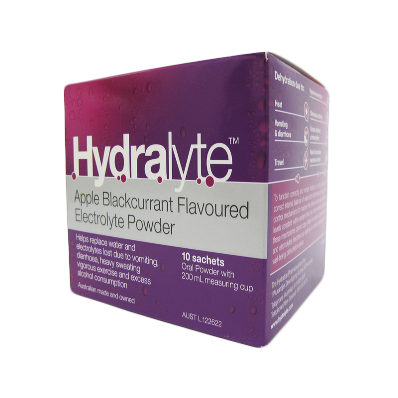 Hydralyte Apple Blackcurrant Flavoured Electrolyte Powder, 10 sachets