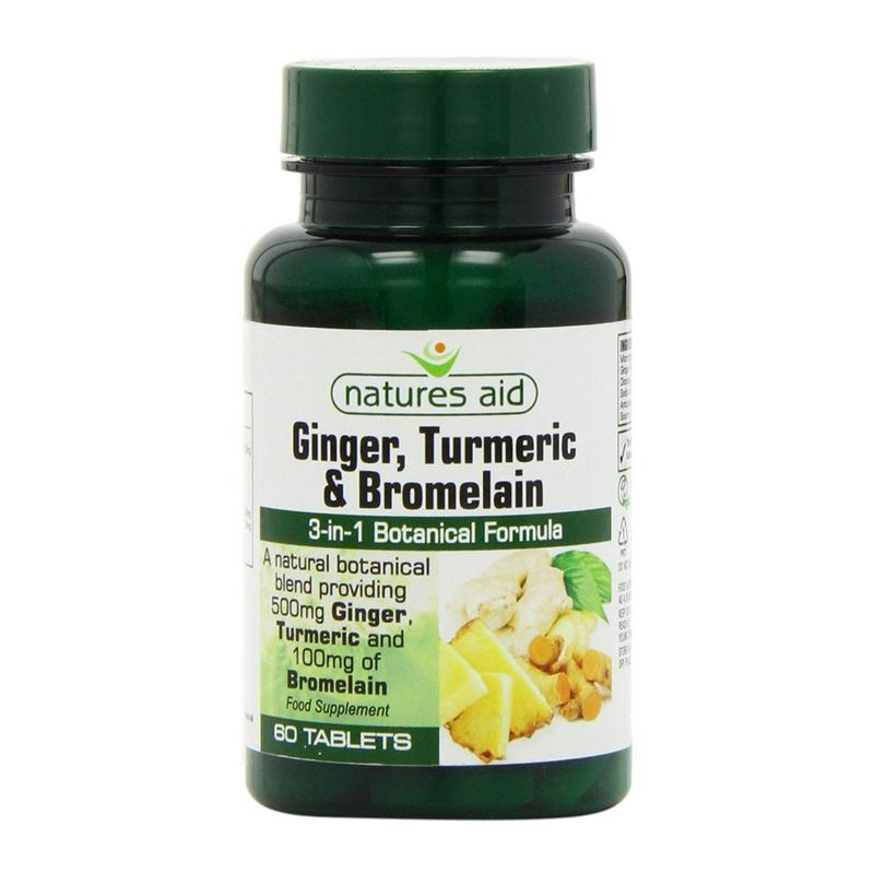 Natures Aid Ginger, Turmeric & Bromelain 60 softgels
