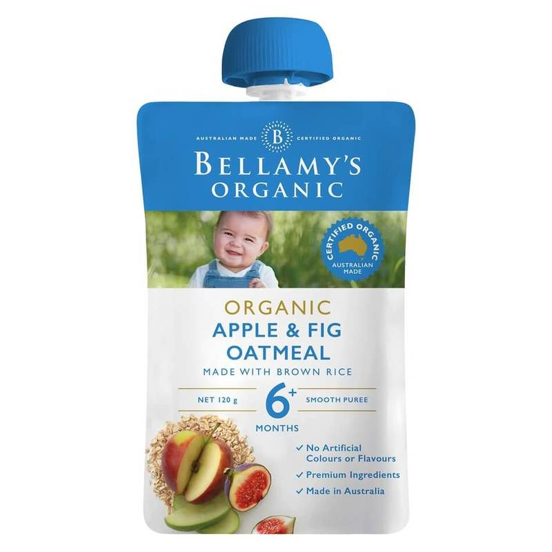 Bellamy's Organic Apple & Fig Oatmeal Pouch, 120g