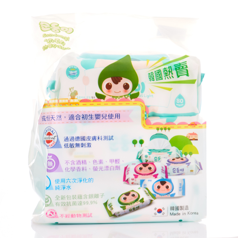 Soondoongi Lohas Light Wipes 80pcs x3