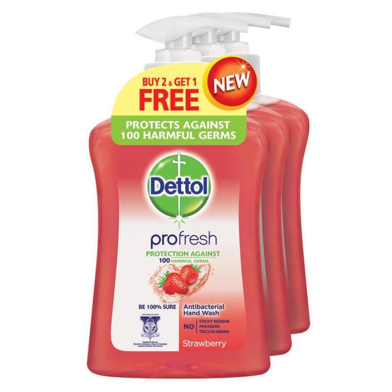 Dettol Profresh Liquid Handwash Strawberry Buy 2 Free 1, 3x250ml