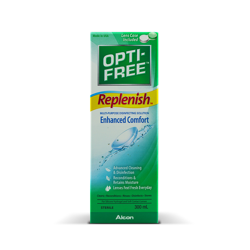 Alcon Opti-Free Replenish Multi-Purpose Disinfecting Solution 300mL X3 + Wipes