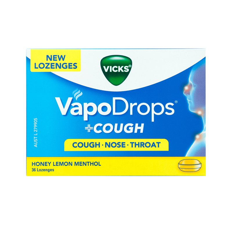 Vicks Vapodrops + Cough Honey Lemon, 36pcs