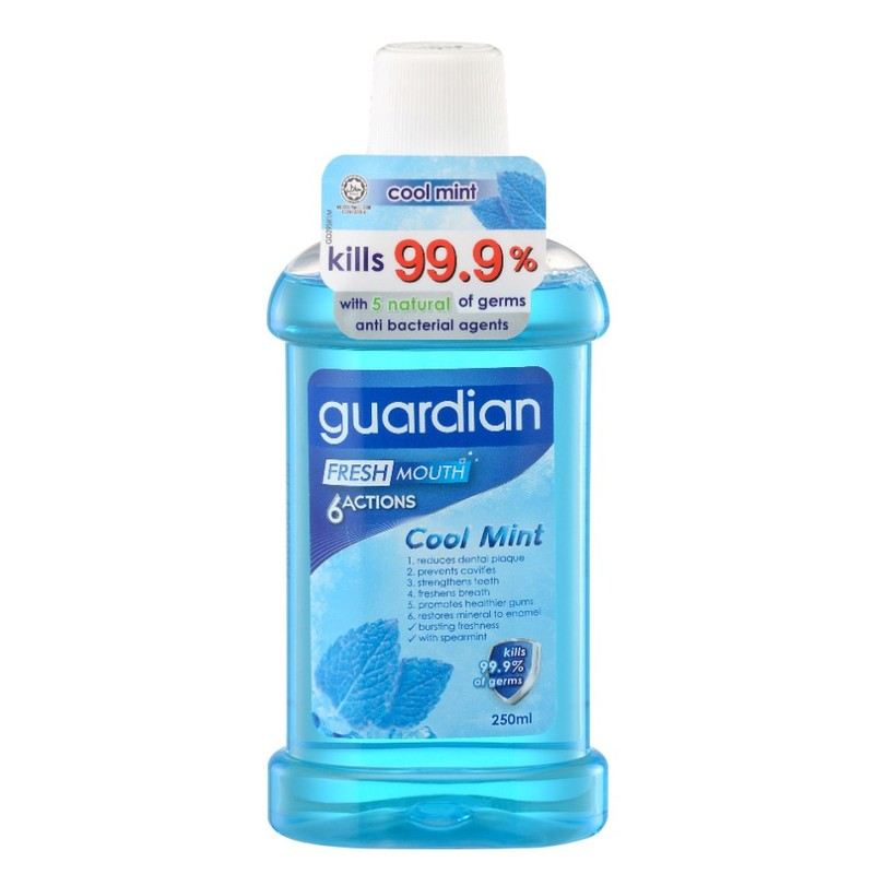 Guardian 6-Actions Cool Mint Mouthwash, 250ml
