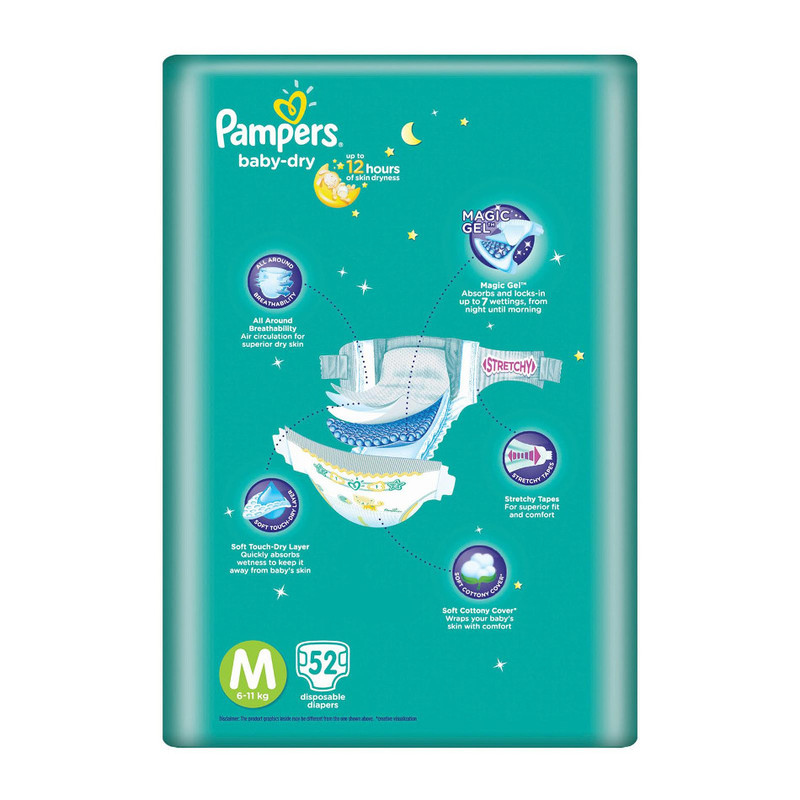 Pampers Baby Dry Diapers Tapes M, 64pcs